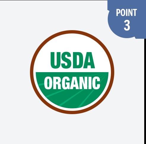 ドクターブロナーのオーガニックシュガーソープが取得している、USDA認証マーク。石けんでありながら、食品レベルの基準を満たしています。