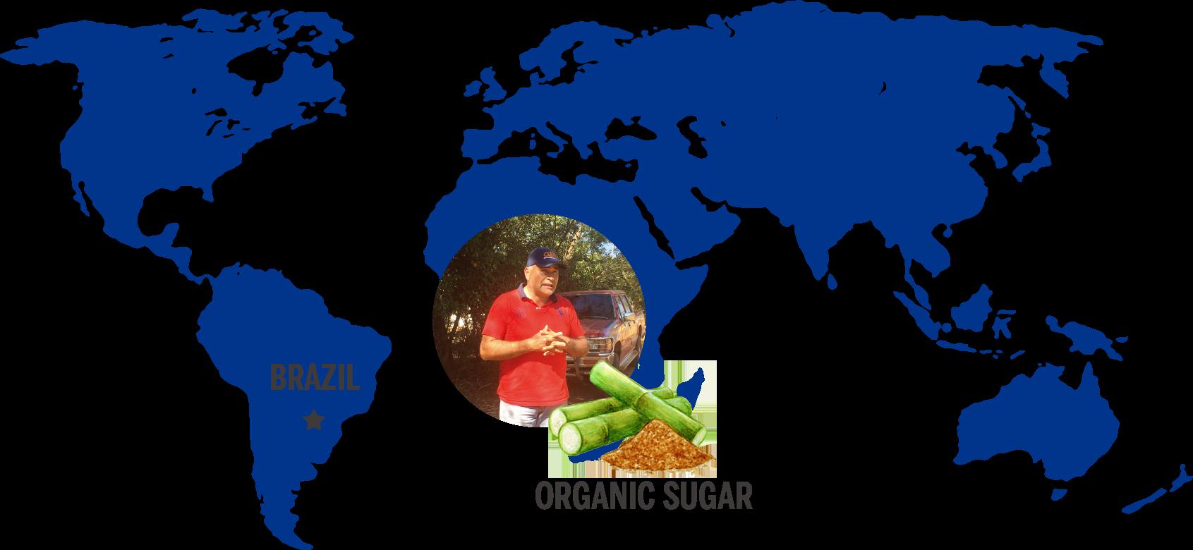 ドクターブロナーがフェアトレードで調達しているオーガニックシュガーソープの主要原材料であるオーガニックシュガー*の生産者と地図(*スクロース(保湿成分))