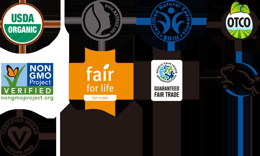 ドクターブロナーオーガニックシュガーソープが取得している認証マーク。USDA、NATRUE1、BDIH、Oregon Tilth Certified Organic、Non-GMO Project、fair for life、WFTO、Leaping Bunny、Vegan Action